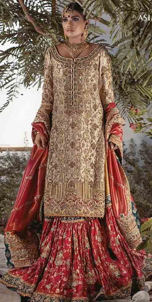 New long shirt with sharara style Pakistani bridal dress in red and golden color combinations 2018 with dupatta