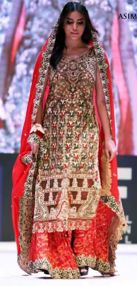 Latest front open long shirt design Pakistani bridal dress in red and golden color combinations 2018 with dupatta