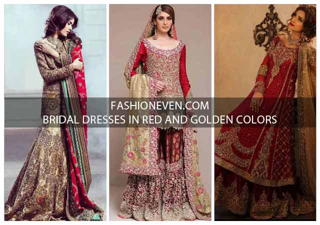 Pakistani Bridal Dresses In Red And Gold Colors 2021-22
