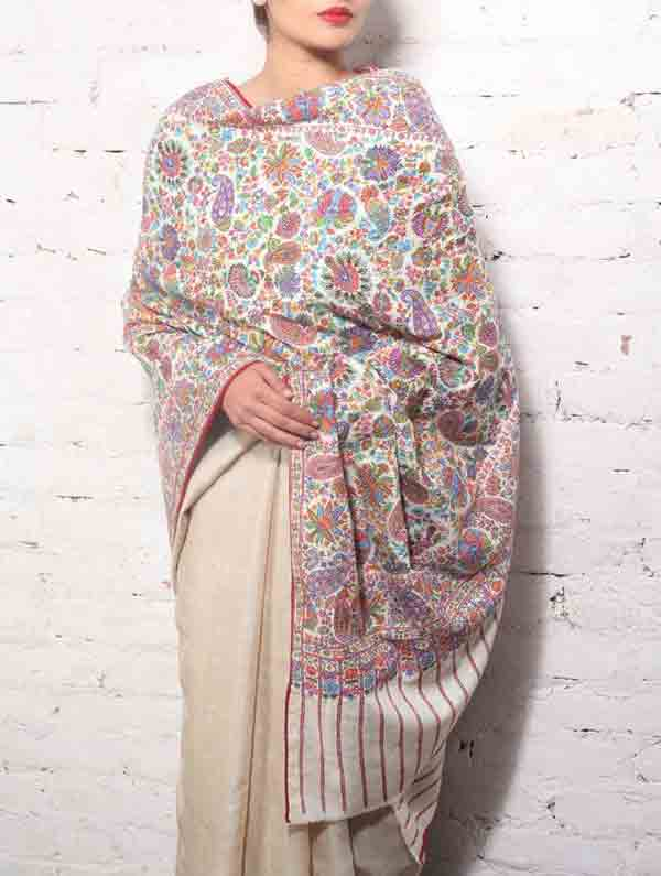 Ladies pashmina shawls in grey and pink color for winter season