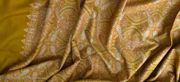 Ladies pashmina shawls in golden color for winter season