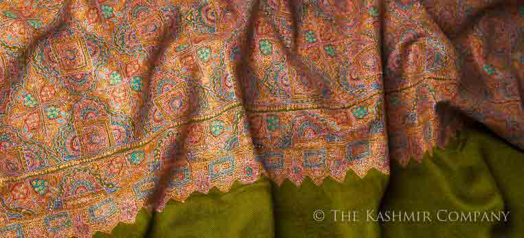 Ladies pashmina shawls in brown and green color for winter season