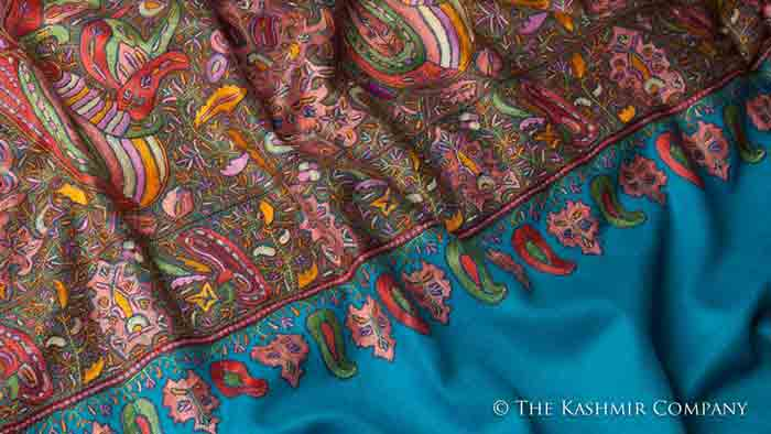 Handmade embroidered pashmina shawls in blue color for winter season