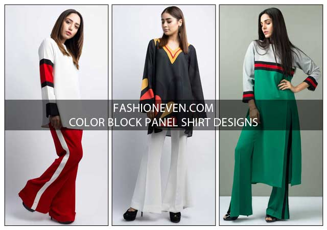Latest red white blue and green color blocking dress designs