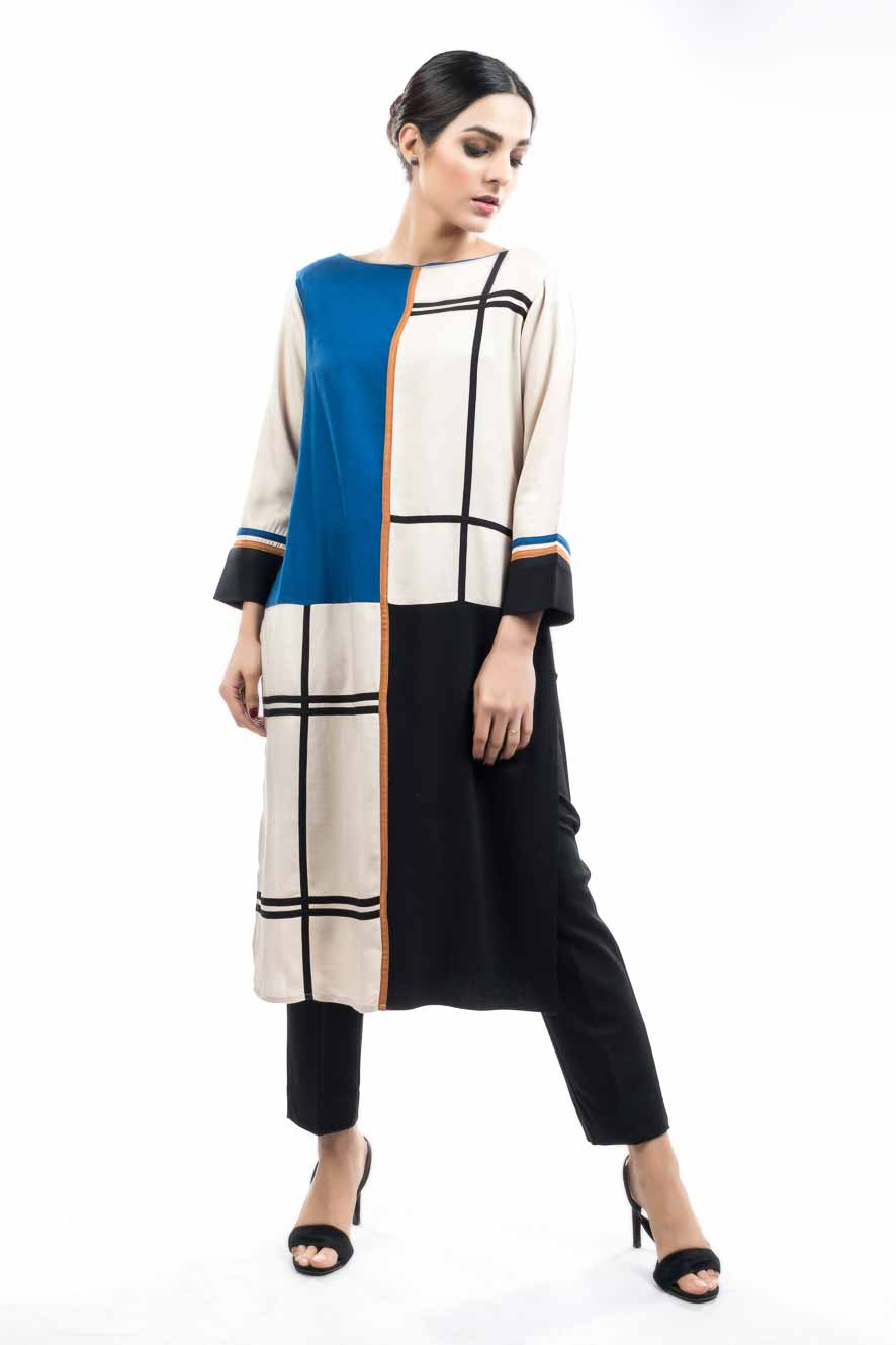 White blue and black color blocking shirt for girls
