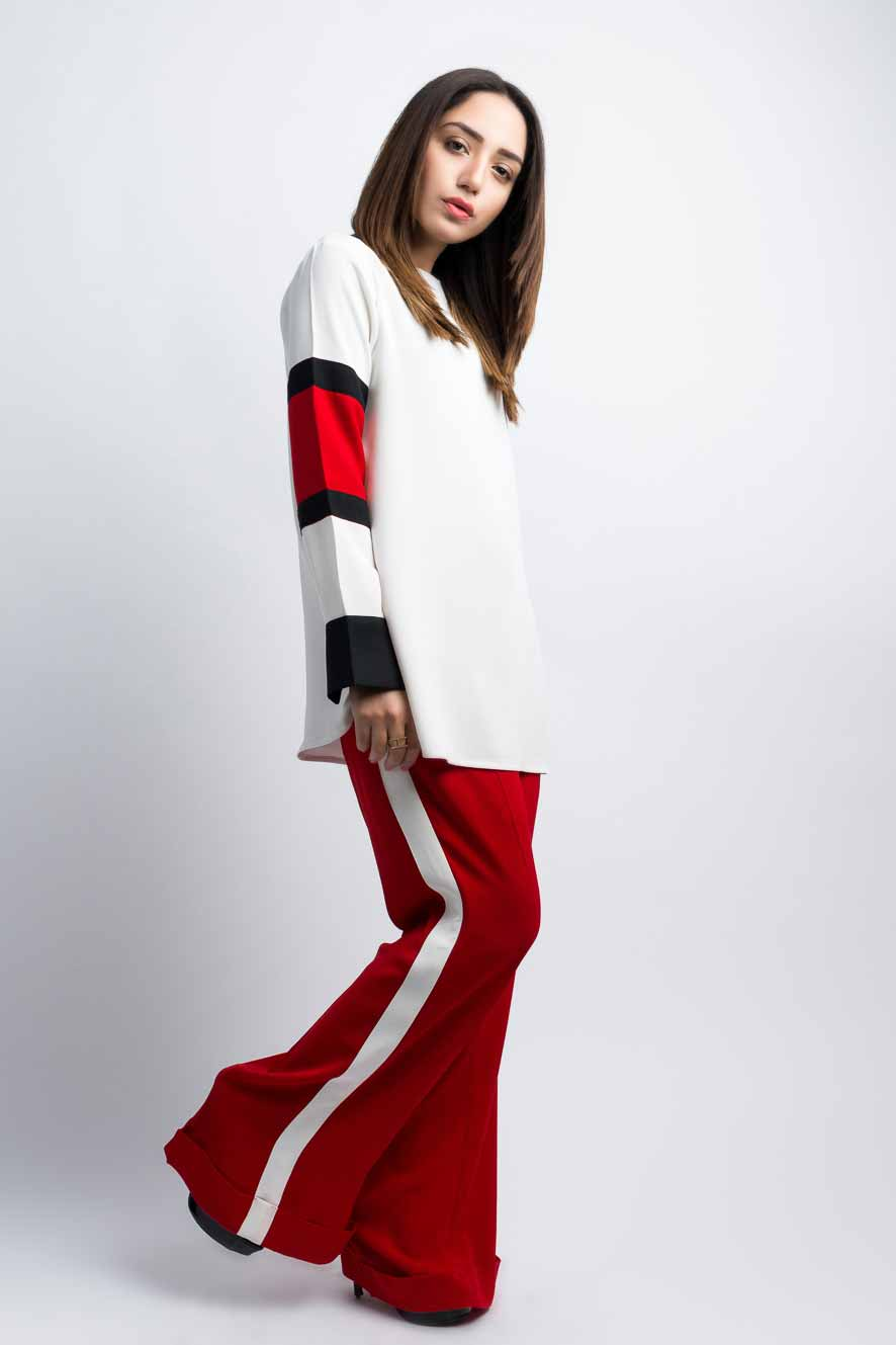 Latest white and red color blocking dress for girls