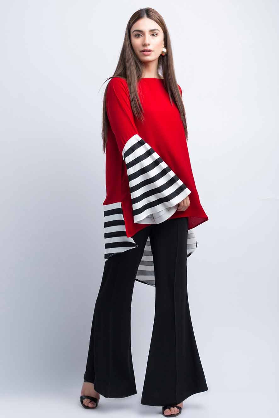 Red and black color blocking shirt designs