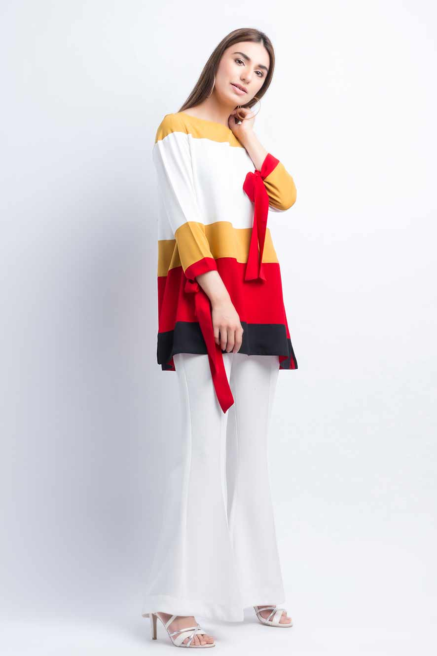 Latest white and red color blocking shirt for girls
