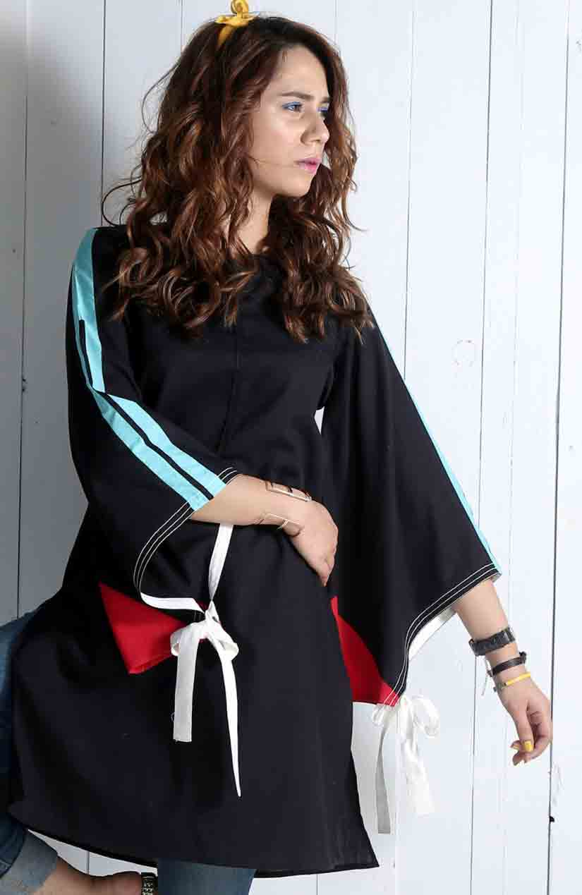 Black color blocking dress with knotted sleeves