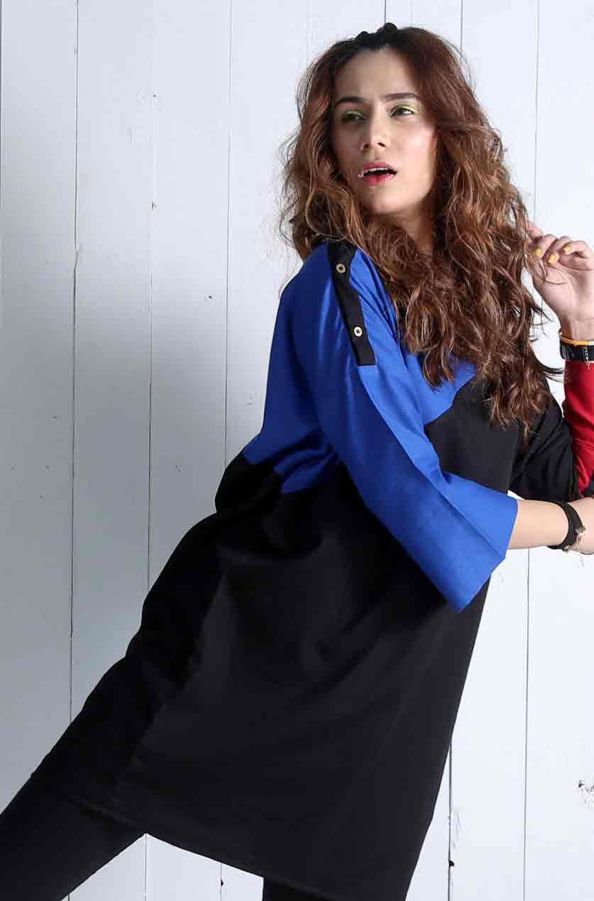 Blue and black color blocking dress