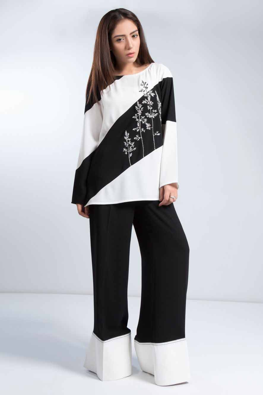 Latest black and white embellished color block shirt designs