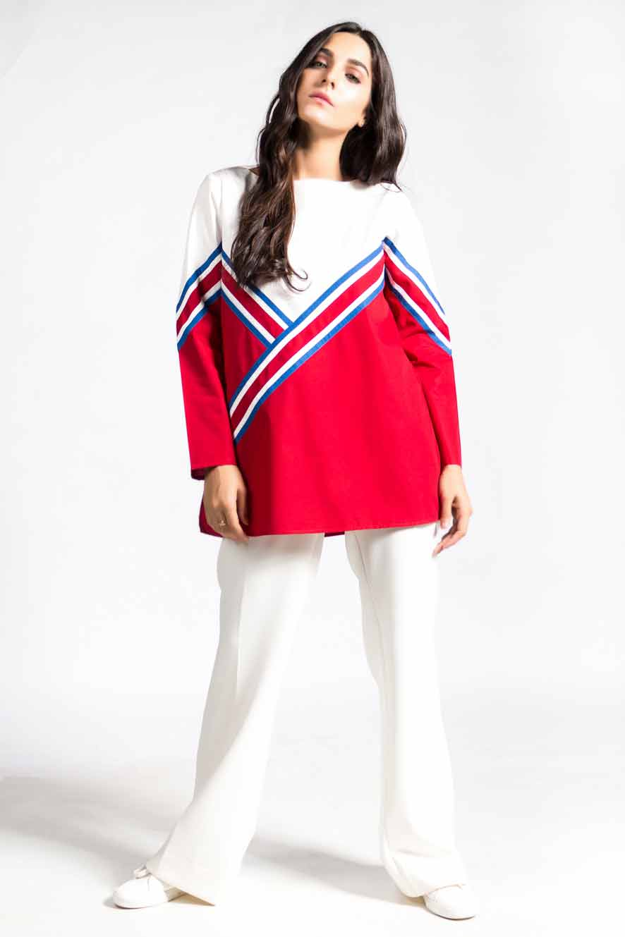 Color block panel shirt in red and white