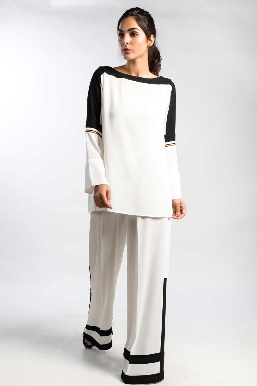 Latest color blocking dress in white and black colors