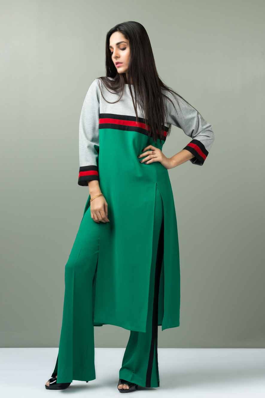 Green and white color blocking dress designs for girls
