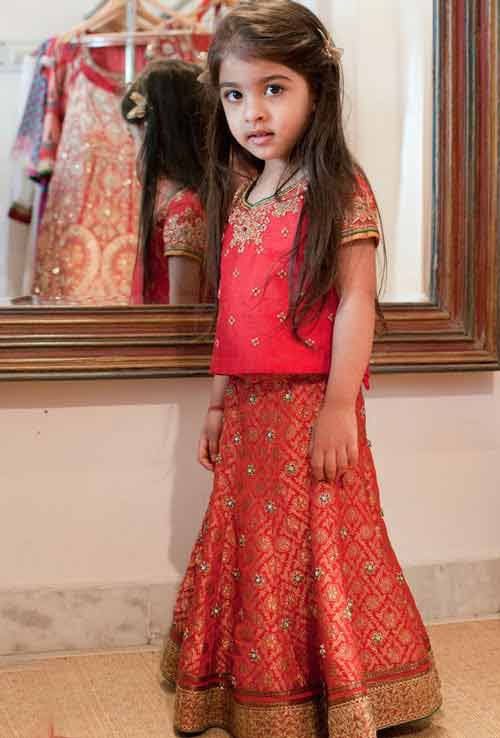 Peach lehnga choli for kids