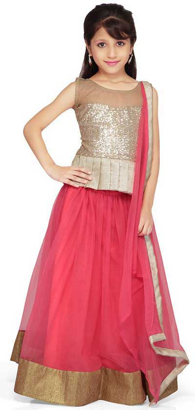 Best silver and pink lehnga choli for kids