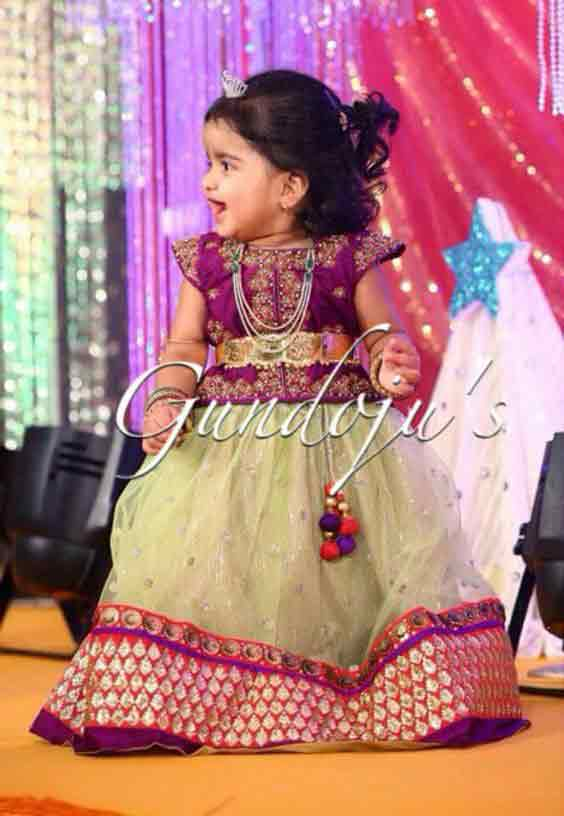 Purple and green lehnga choli for kids