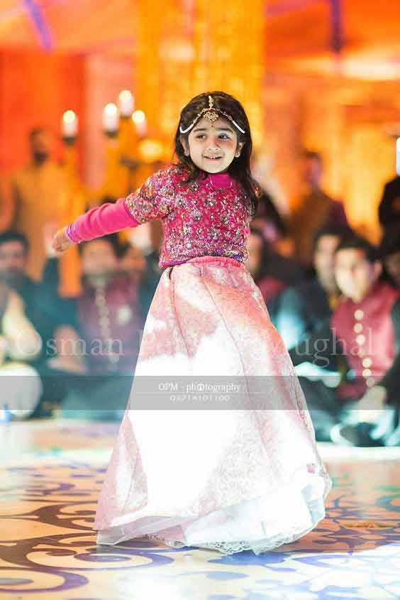 Pink and white lehnga choli for kids
