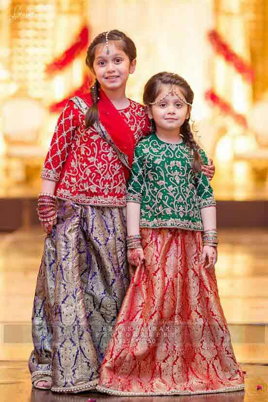 Latest green and orange lehnga choli dress designs for kids