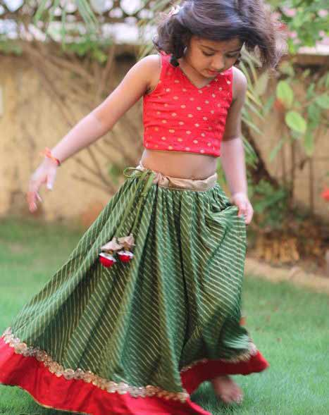 Best red and green lehenga choli for little girls