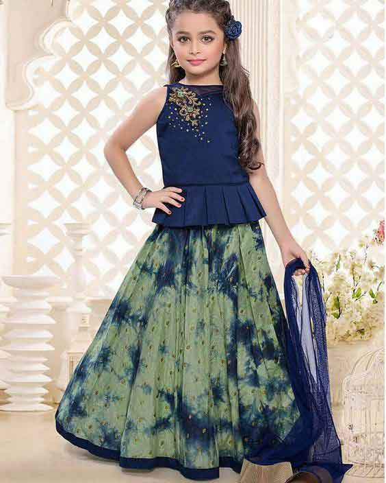 Kids lehnga choli in blue and green colors