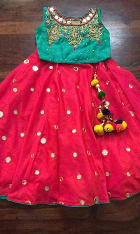 Green and red lehnga choli for little girls