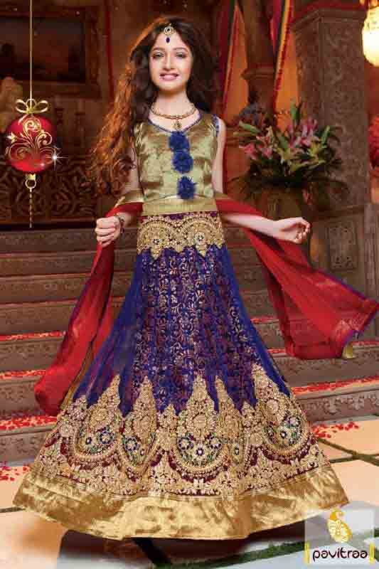 Kids blue and red lehnga choli designs