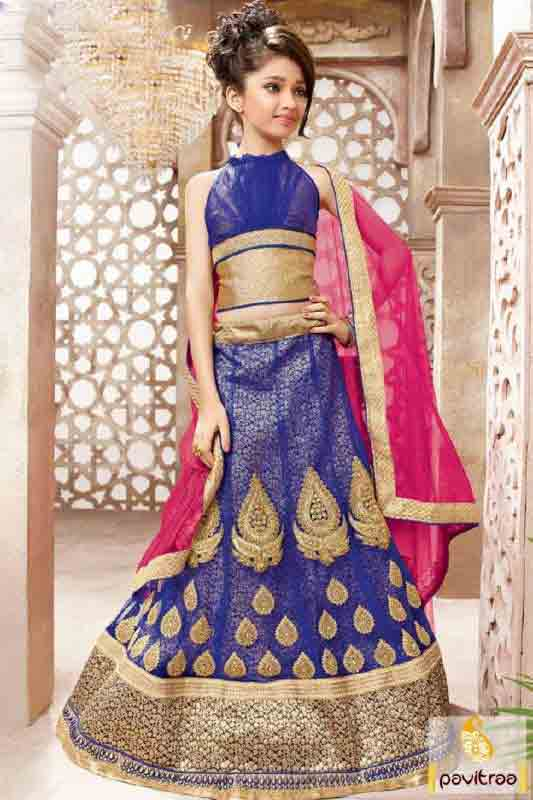 Kids pink and blue lehnga choli designs