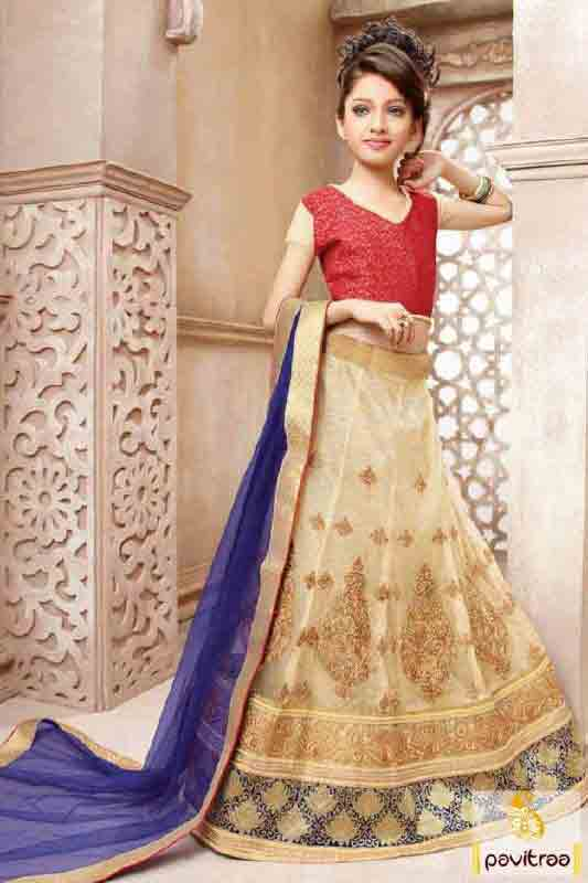Best off white and red lehnga choli designs with dupatta for kids