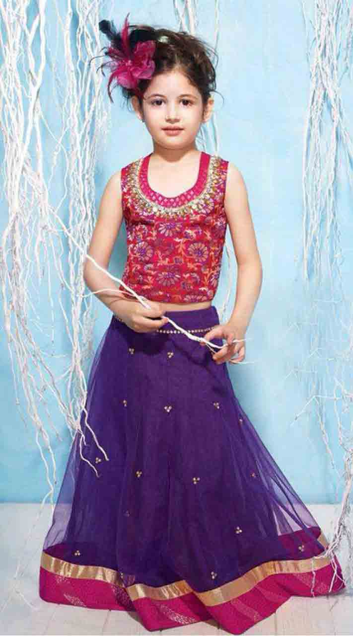 Kids lehnga choli dress designs in pink and blue colors
