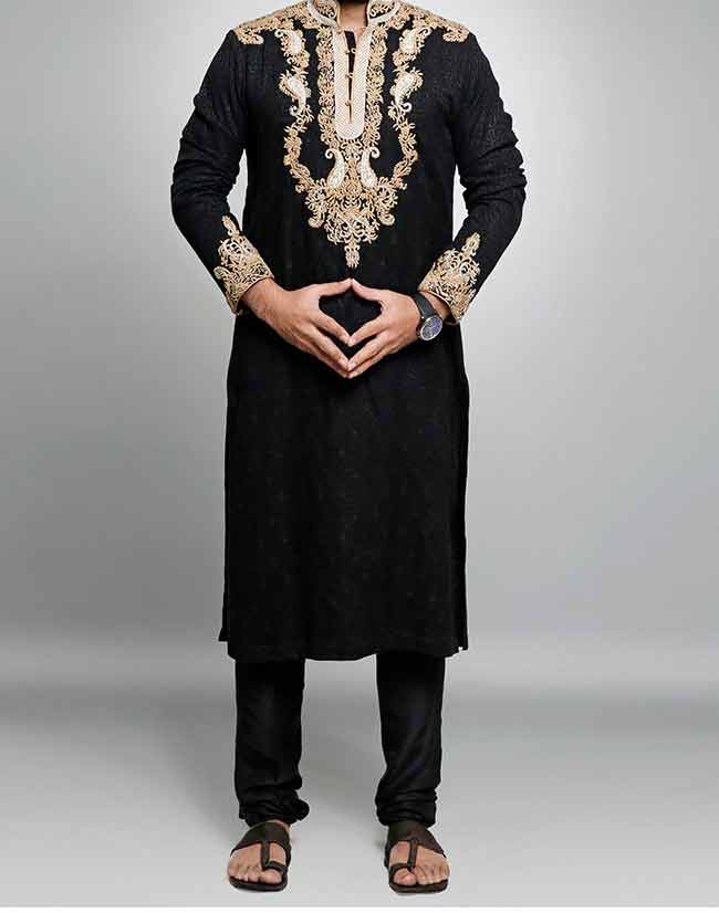 Latest black embroidered kurta designs for groom