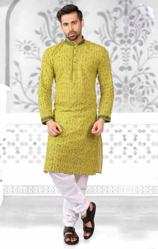 Latest green and white kurta pajama for grooms