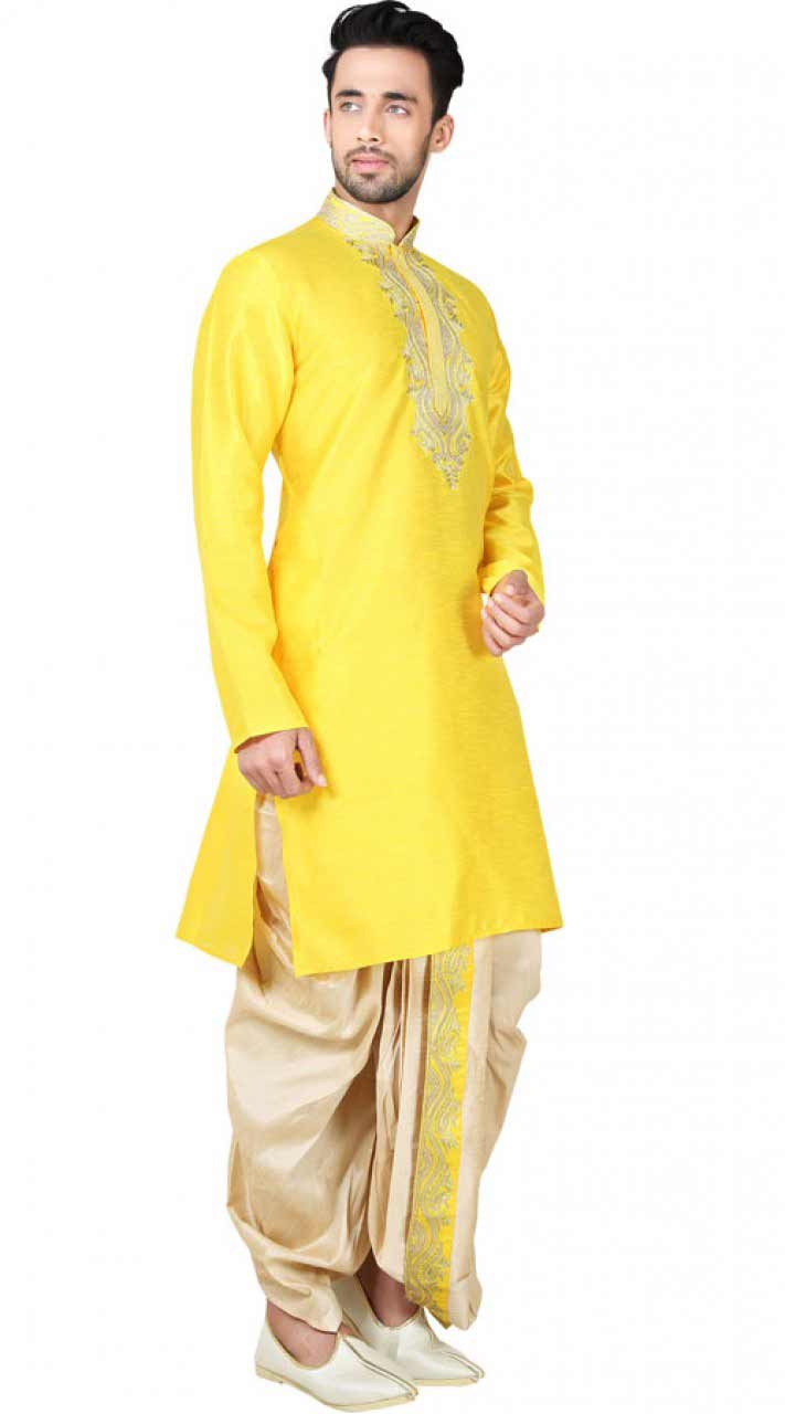 Latest yellow kurta with dhoti shalwar for groom
