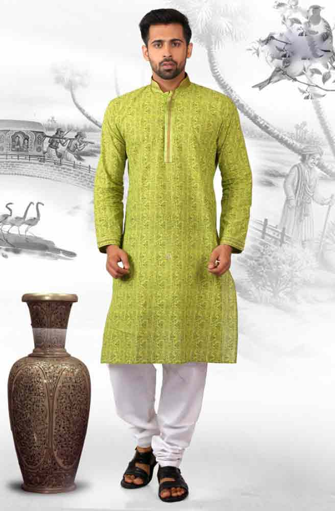Best green kurta with white shalwar for groom
