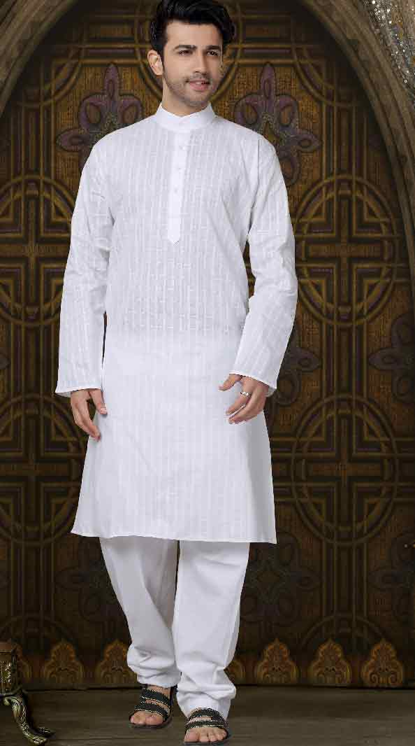 Simple white mehndi kurta designs for groom