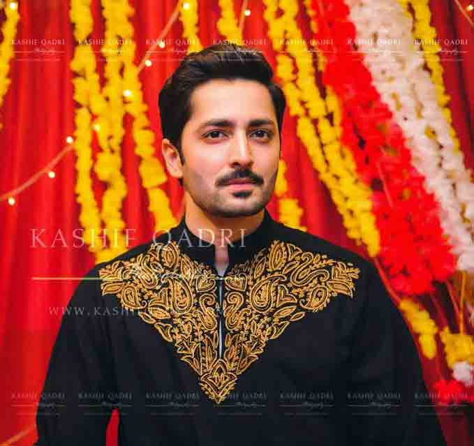 Black embroidered kurta designs for grooms
