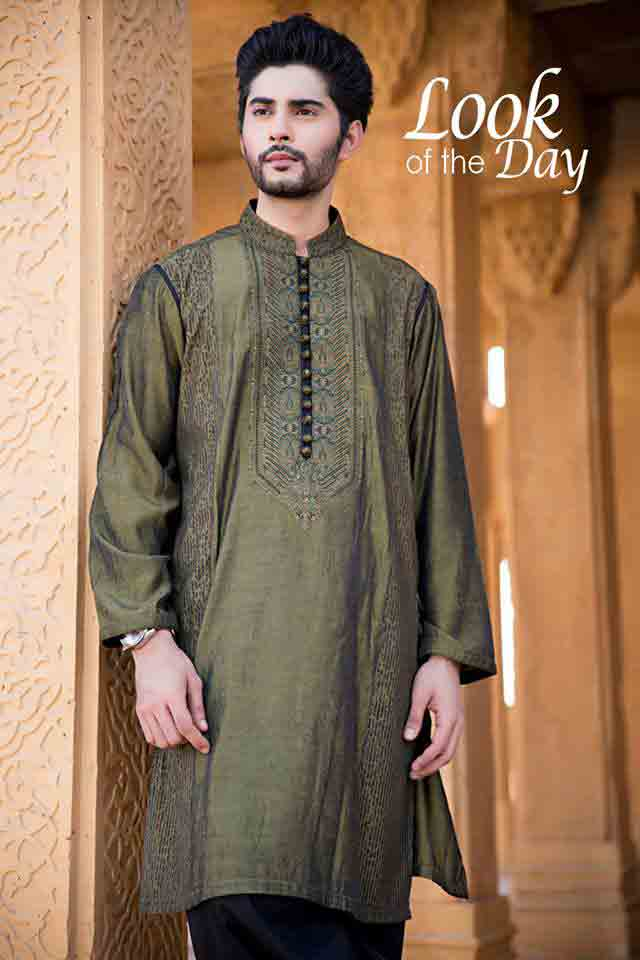 Latest green mehndi shalwar kameez for men