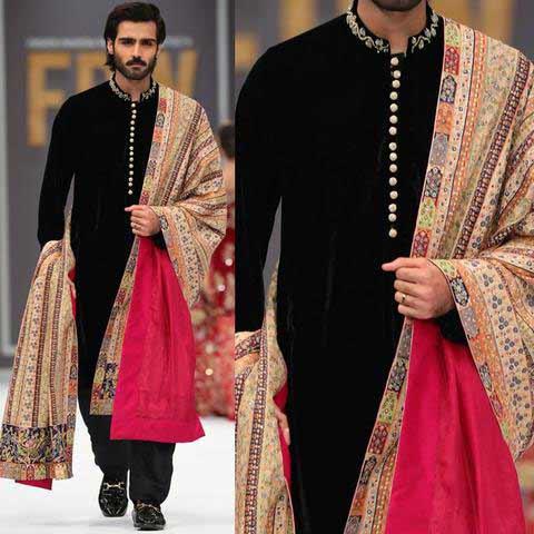 Latest black mehndi kurta designs with shawl