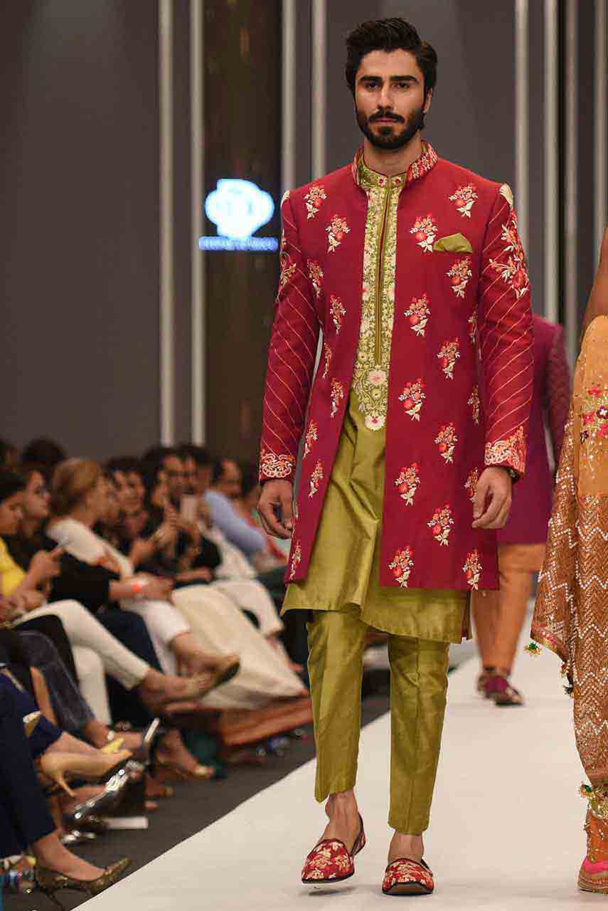 Latest mehndi green kurta with red long jacket for groom