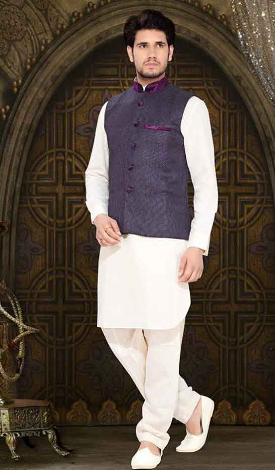 Latest white mehndi kurta designs with purple waistcoat for grooms