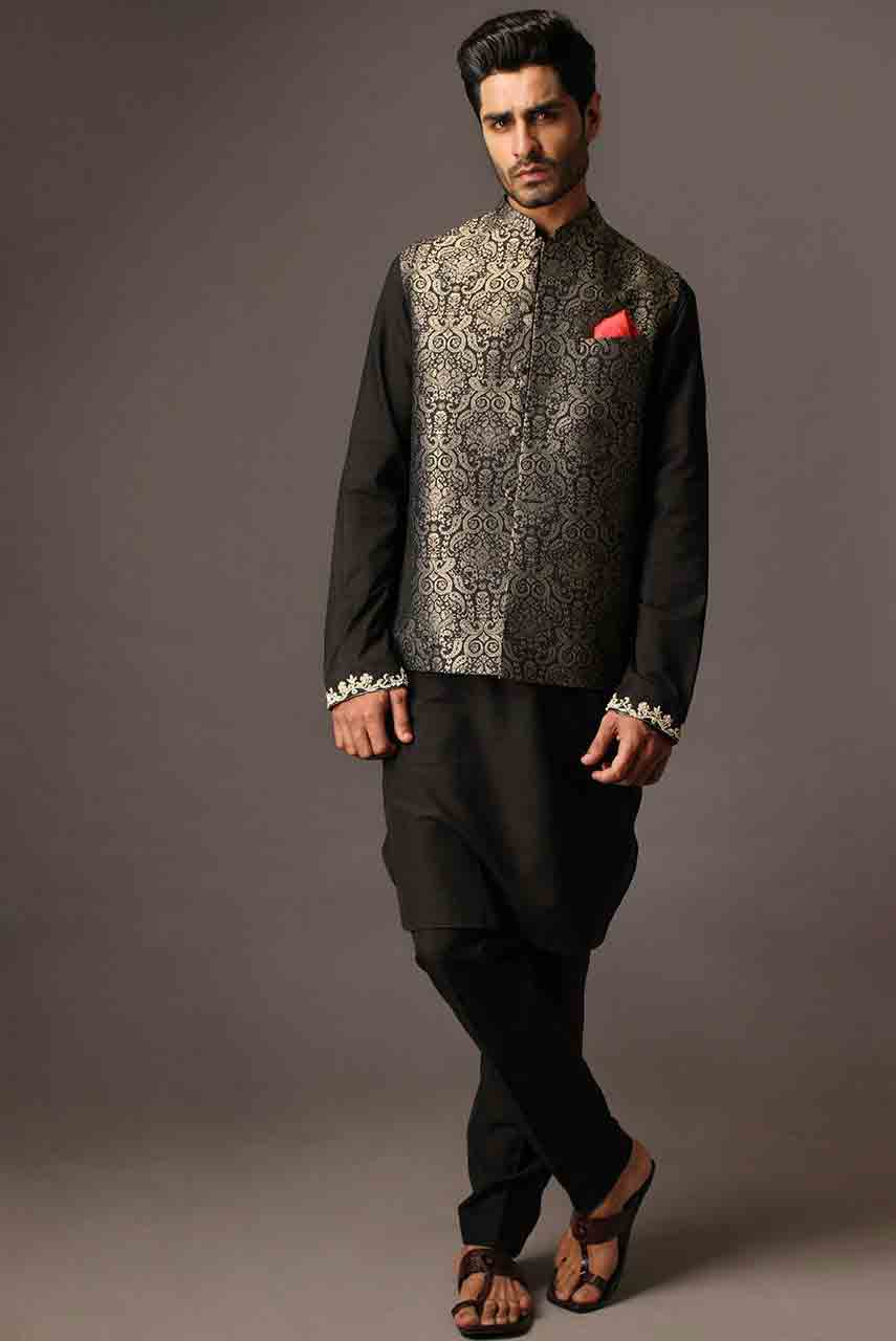 Black mehndi kurta designs with waistcoat