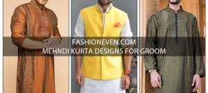 Green white and brown mehndi kurta designs for grooms