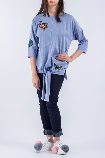 Pakistani blue knotted tops with jeans for girls