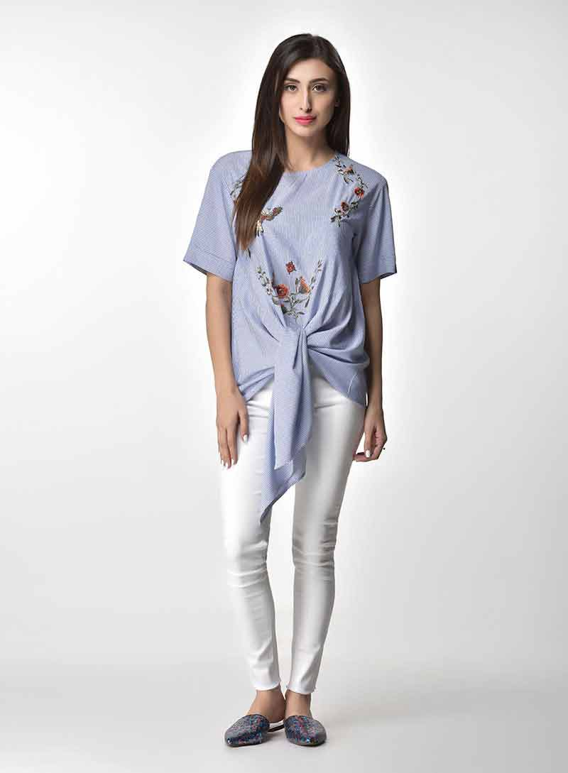 Pakistani casual blue knotted shirt with jeans