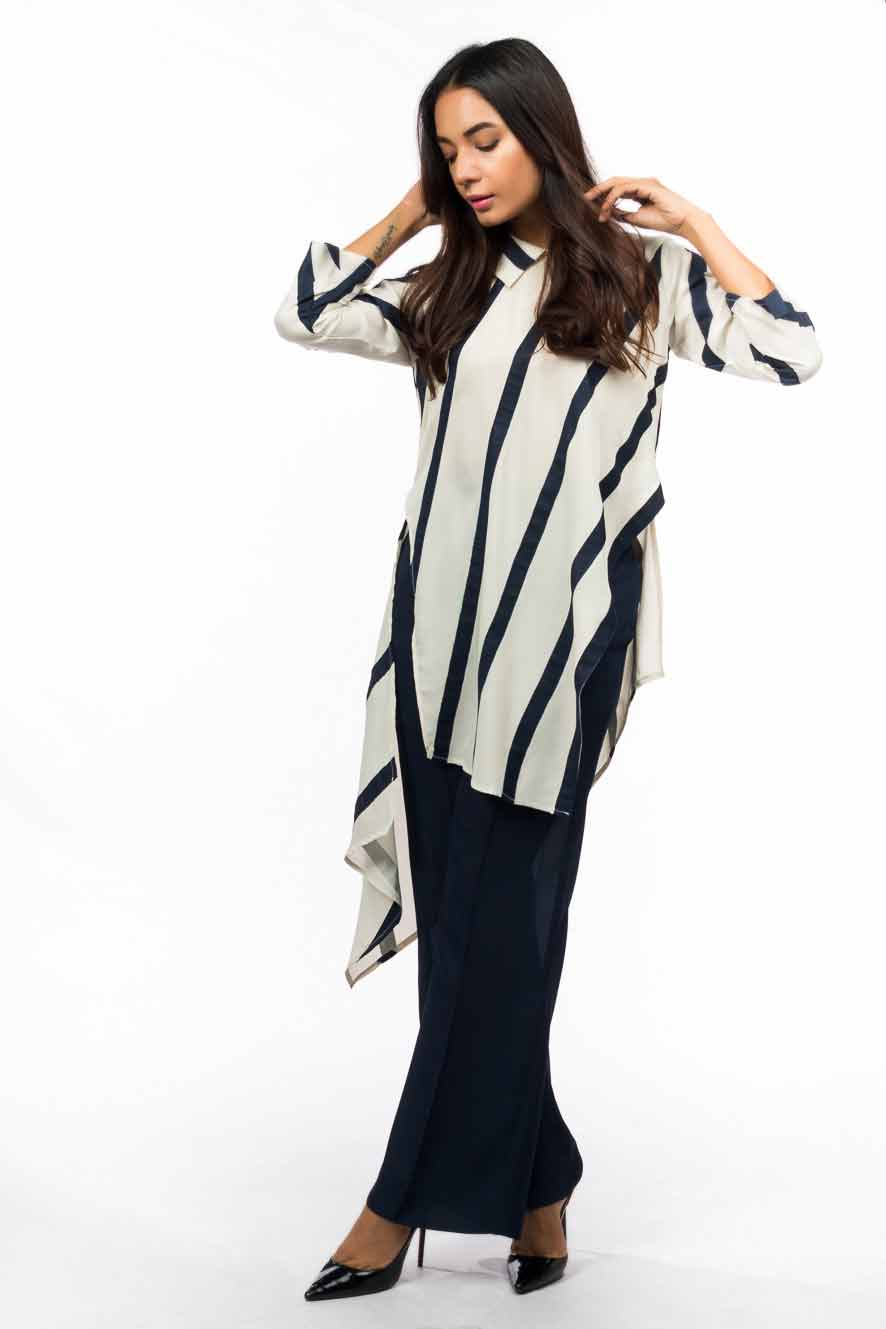 Latest white and black striped high low shirt