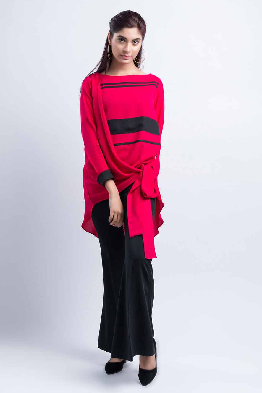 Pakistani red and black knotted tops and shirt designs