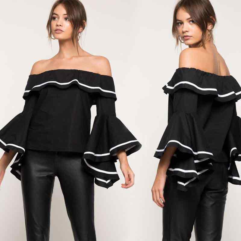 Best black casual off shoulders top design
