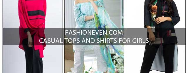 Pakistani casual off shoulders knotted and high low tops and shirt designs for girls
