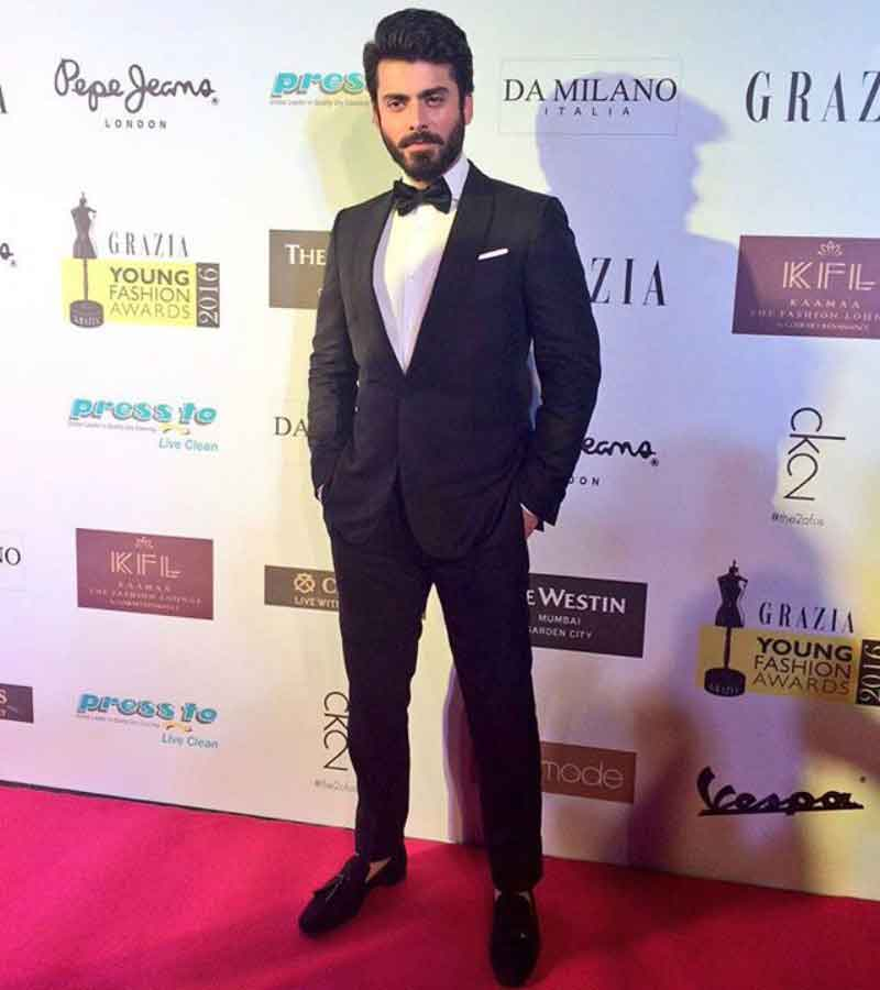 Fawad Khan in suit and bow tie fashion accessory