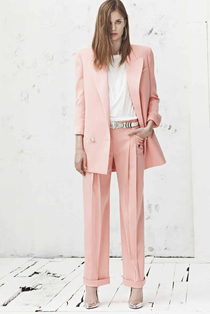 Latest pink and white business suits for women